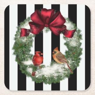 Grinalda e listras do Natal dos cardeais Porta-copo De Papel Quadrado