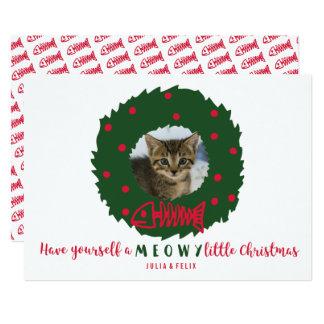 Grinalda engraçada do Natal do gato com sua foto Convite 12.7 X 17.78cm