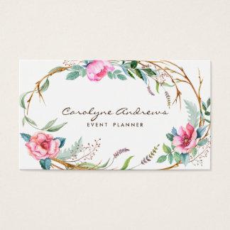 Grinalda floral boémia da aguarela cor-de-rosa cartão de visitas