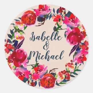 Grinalda floral chique vermelha de Boho, etiquetas