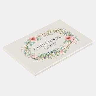 Grinalda floral de Boho com seu texto feito sob Livro De Visitas