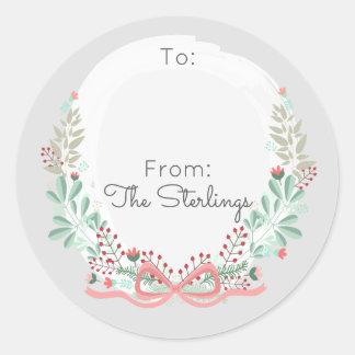 Grinalda floral moderna dos cartões de natal a & adesivo redondo