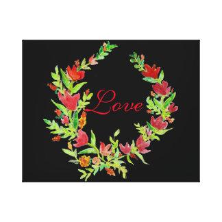 Grinalda floral pintado à mão em canvas