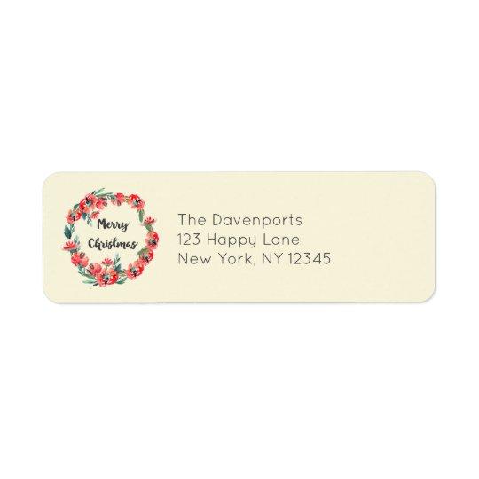 Grinalda floral vermelha da aguarela do Feliz Etiqueta Endereço De Retorno