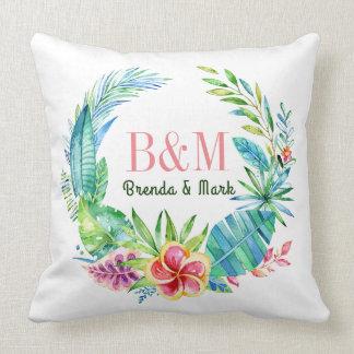 Grinalda tropical colorida das flores almofada
