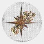 Grunge da estrela do compasso de Steampunk Adesivos Em Formato Redondos
