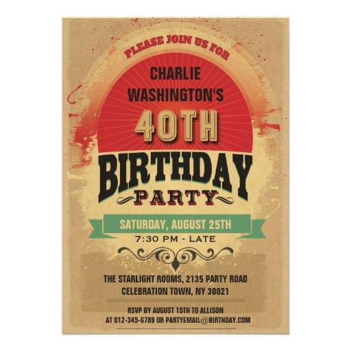 Grunge da tipografia do vintage do aniversário de convites personalizado