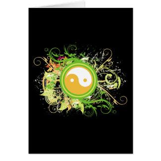 Grunge de Yin Yang Cartão Comemorativo
