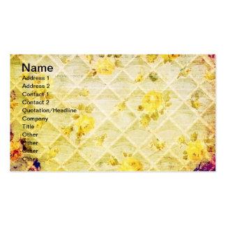 Grunge do papel de parede do rosa amarelo do vinta cartao de visita