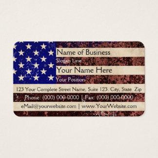 Grunge do vintage da bandeira americana cartão de visitas