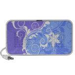 Grunge floral azul e branco caixinhas de som portátil