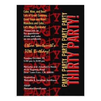 Grunge vermelho do preto do ouro do aniversário convites personalizados