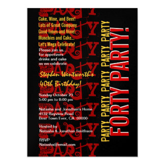 Grunge vermelho do preto do ouro do aniversário de convites personalizados
