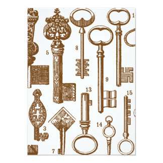 Grupo antiquado antigo da chave do vintage convite 13.97 x 19.05cm