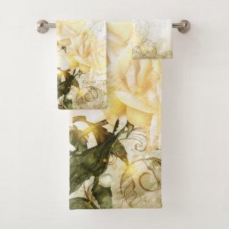 Grupo artístico de toalha do banheiro dos rosas