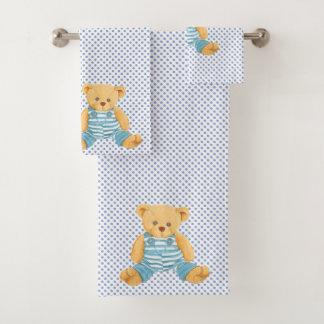 Grupo azul de toalha do urso de ursinho das