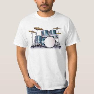 Grupo azul do cilindro do cetim camiseta