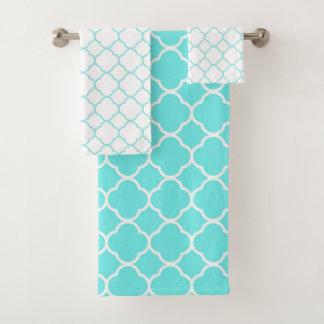 Grupo azul e branco elegante de toalha de banho da
