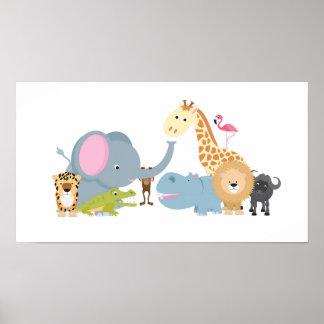 grupo bonito do animal do safari de selva dos dese impressão