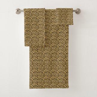 Grupo chique de toalha do impressão do leopardo do