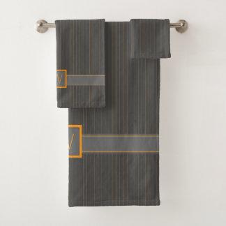 Grupo cinzento e alaranjado de toalha das riscas