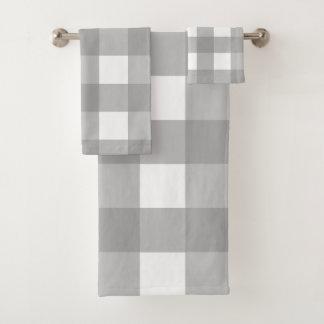 Grupo cinzento e branco de toalha de banho da