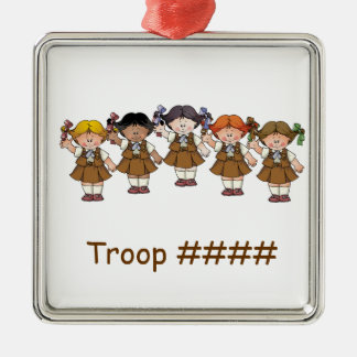 Grupo da brownie ornamento quadrado cor prata