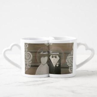 Grupo da caneca de café dos amantes da noiva & do conjunto de caneca de café
