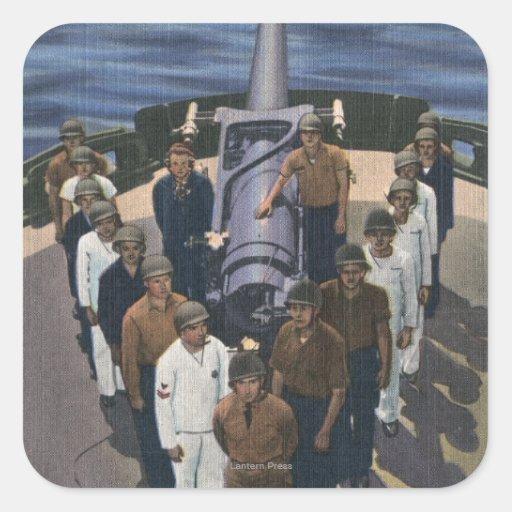 Grupo de arma na formação da vitória - marinho dos adesivo em forma quadrada