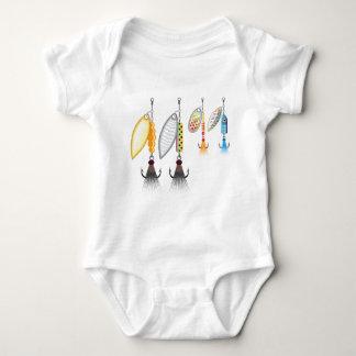 Grupo de giradores que pescam a ilustração do body para bebê