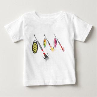 Grupo de giradores que pescam a ilustração do camiseta para bebê