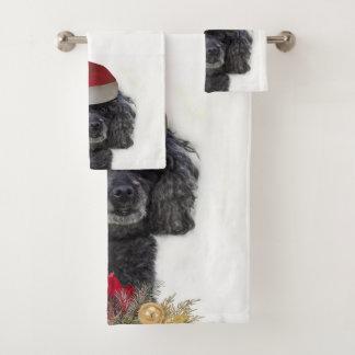 Grupo de Poodlel do Natal de toalhas de banho