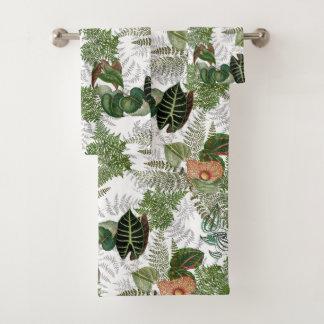 Grupo de toalha de banho das flores das folhas das