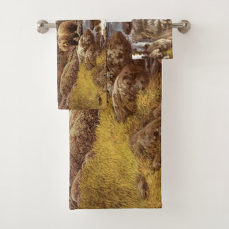 Grupo de toalha do banheiro da paisagem do urso de