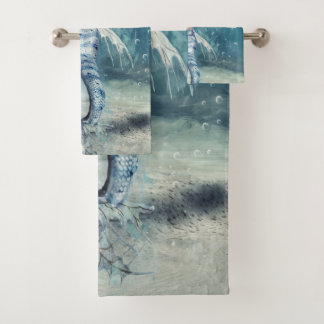 Grupo de toalha do banheiro da sereia da fantasia