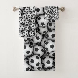 Grupo de toalha do banheiro das bolas de futebol