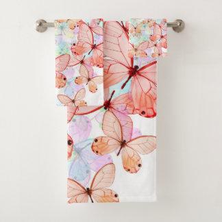 Grupo de toalha do banheiro das borboletas do