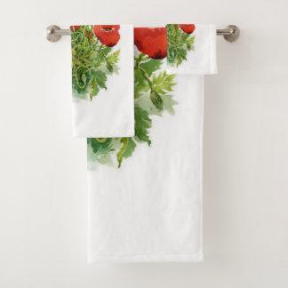 Grupo de toalha do banheiro das papoilas da
