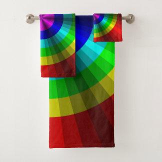 Grupo de toalha do banheiro do arco-íris da ilusão