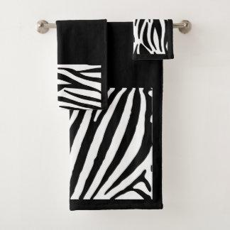 Grupo de toalha do banheiro do impressão da zebra