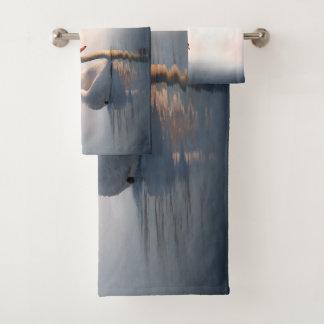 Grupo de toalha do banheiro do nascer do sol da