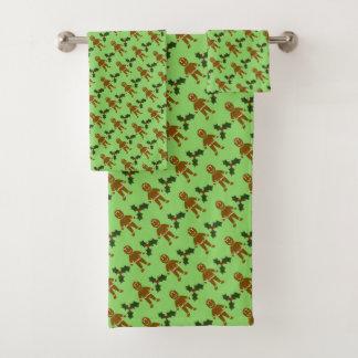 Grupo de toalha do banheiro do Natal dos homens de