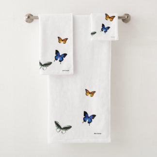 Grupo de toalha do banheiro do teste padrão de
