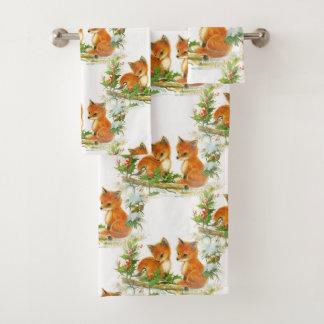 Grupo de toalha do Natal do pássaro do azevinho