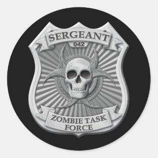 Grupo de trabalho do zombi - sargento Crachá Adesivos Redondos