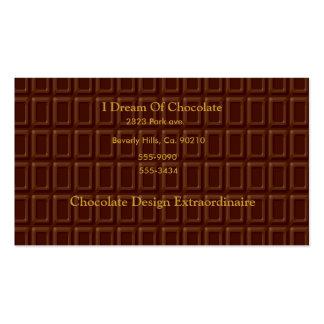Grupo do bar de chocolate cartao de visita