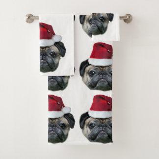 Grupo do cão do Pug do Natal de toalhas de banho