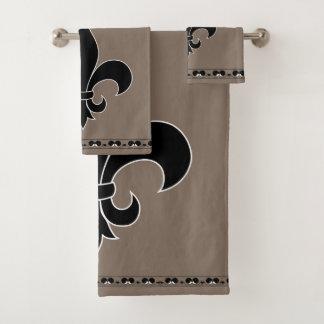 Grupo elegante de toalha do banheiro da flor de