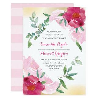 Grupo floral cor-de-rosa do convite de casamento