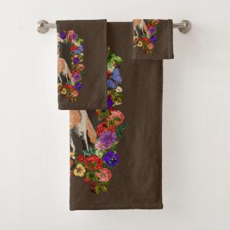 Grupo floral de toalha de banho do Fox 3pc do